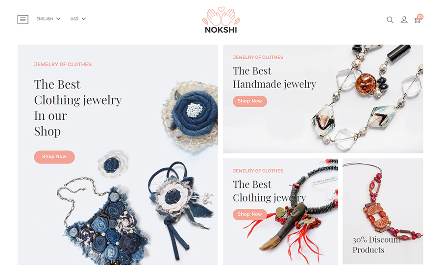 Nokshi - Handmade Craft eCommerce Shopify Theme