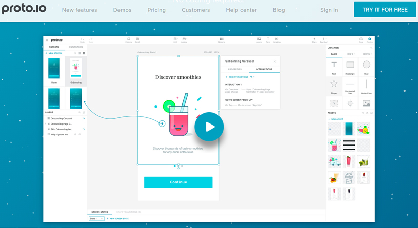 proto.io mobile app design tool
