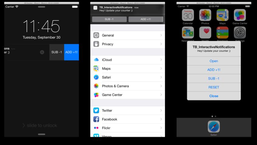 interactive push notifications