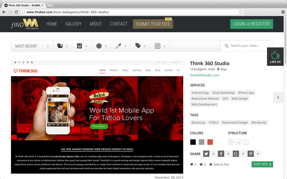 Think 360 Studio Awarded As Best Web Design Agency India In FINDWA.COM