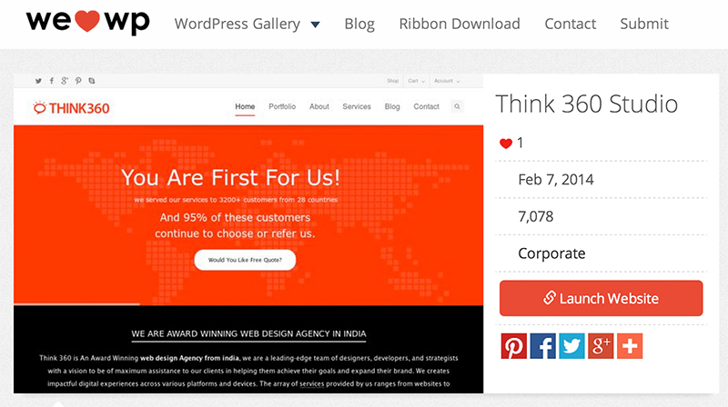 Think360 featured in the Famous WordPress Based Web Design Showcase