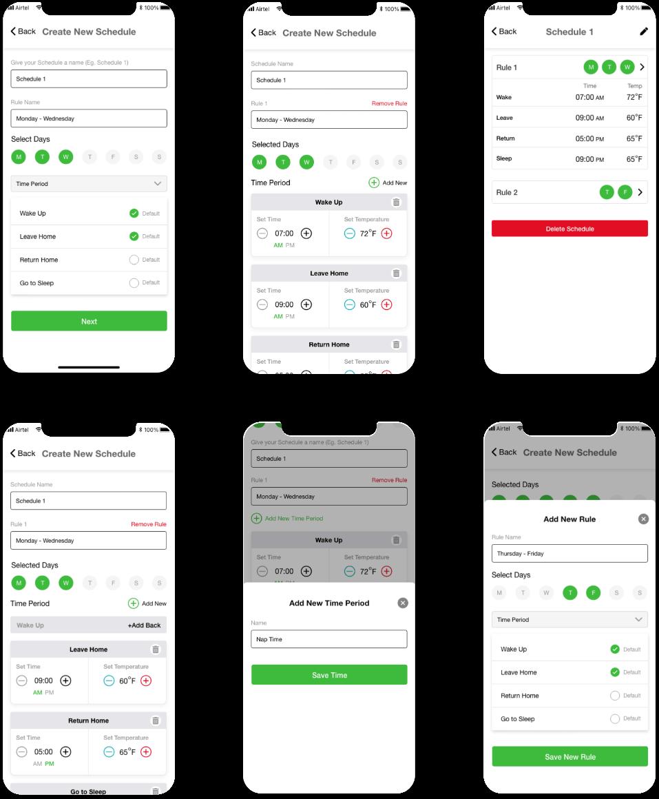 Create New Schedule - screens