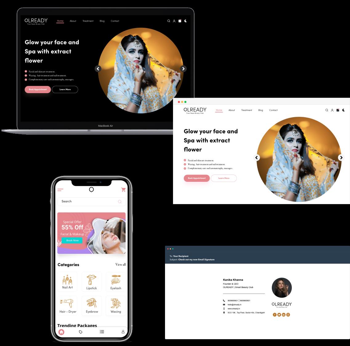 olready web/mobile app UI design