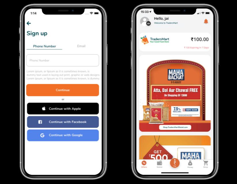TradersMart Loyality App Screen